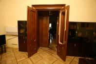 A view of the damaged interior after people stormed the government house in Yerevan