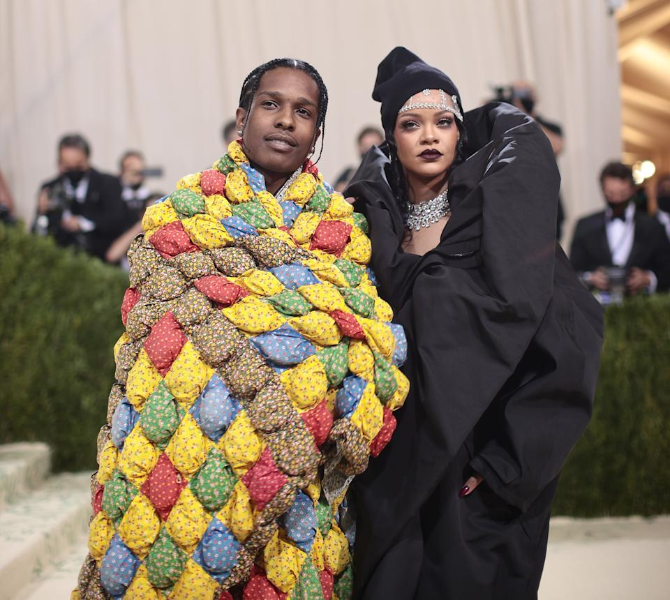 NEW YORK, NEW YORK - SEPTEMBER 13: ASAP Rocky and Rihanna attend The 2021 Met Gala Celebrating In America: A Lexicon Of Fashion at Metropolitan Museum of Art on September 13, 2021 in New York City. (Photo by Dimitrios Kambouris/Getty Images for The Met Museum/Vogue )