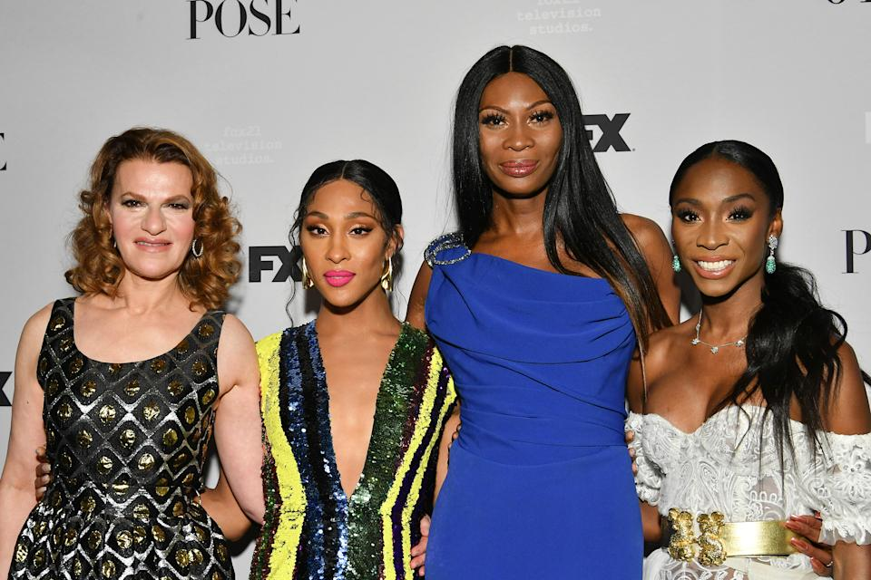 """Dominique Jackson, in blue, at FX Network's """"Pose"""" season 2 premiere on June 05, 2019 in New York City, with costars, from left, Sandra Bernhard, Mj Rodriguez and and Angelica Ross. (Photo: Dia Dipasupil/Getty Images)"""