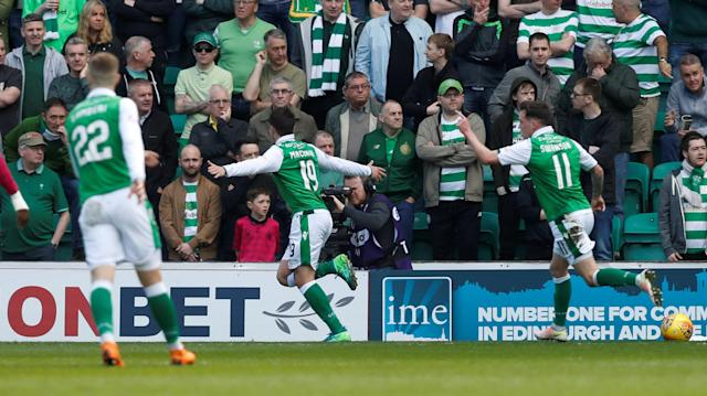Soccer Football - Scottish Premiership - Hibernian v Celtic - Easter Road, Edinburgh, Britain - April 21, 2018 Hibernian's Jamie Maclaren celebrates scoring their first goal REUTERS/Russell Cheyne