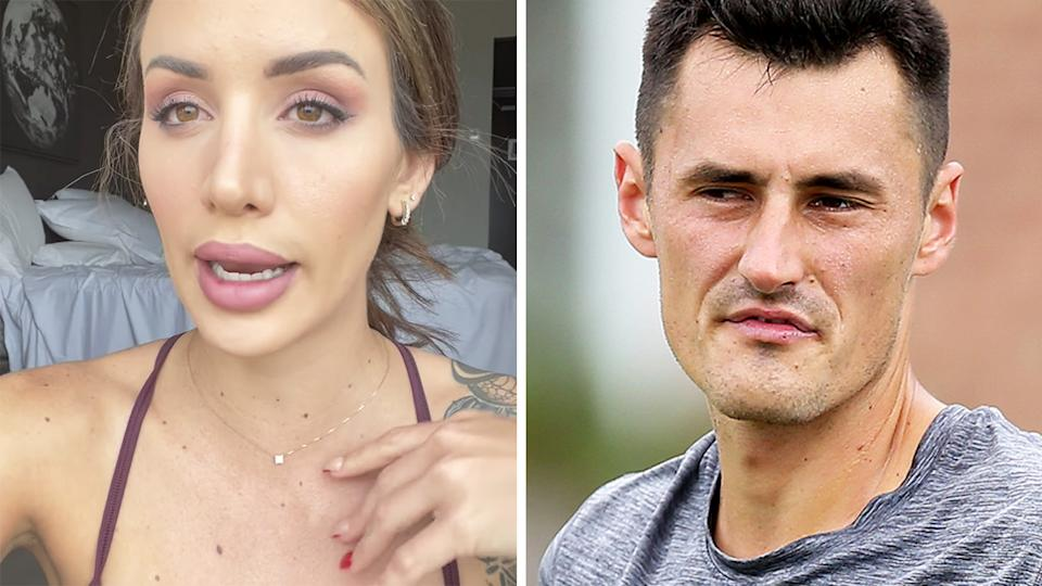 Bernard Tomic's girlfriend Vanessa Sierra has offered a glimpse into the pair's life in quarantine ahead of the Australian Open in February. Pictures: YouTube/Getty Images