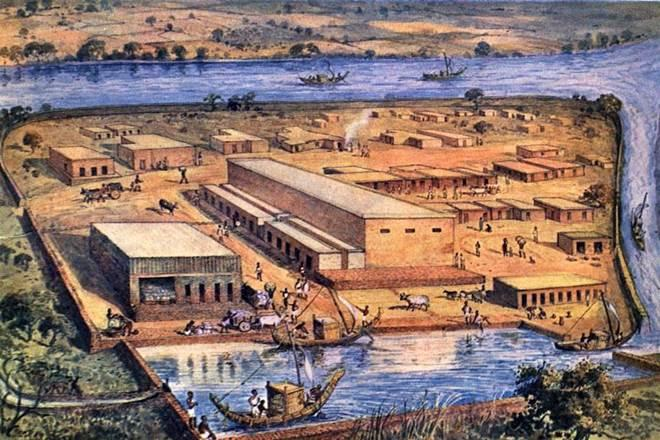 A re-imagining of life in Lothal ( a Harappan era port) 4,000 years ago, by S. R. Rao, depicting the town plan, bead factory, and warehouse.