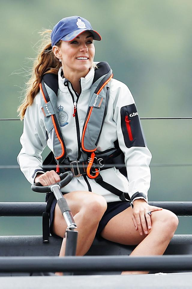 """Kate Middleton skippered a boat during a <a href=""""https://people.com/royals/kate-middleton-prince-william-compete-charity-sailing-race/"""">charity sailing race</a> that pitted her against seven other teams, including one headed by husband Prince William. Although her team was disqualified for starting too early, she looked stylish in a windbreak coat, shorts and a baseball cap."""