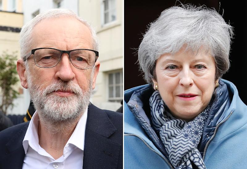 British Prime Minister Theresa May met the leader of opposition Labour Party, Jeremy Corbyn, on April 3 (AFP Photo/ISABEL INFANTES)