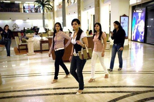 Shoppers at the Emporio shopping mall in New Delhi