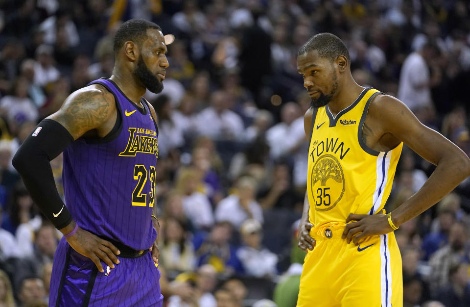 LeBron James selected longtime rival Kevin Durant with the first pick in the All-Star draft. (Getty)