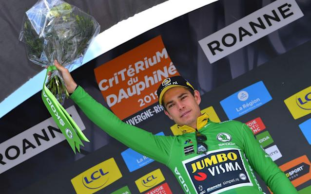 Former cyclocross world champion Van Aert celebrates his time trial victory - Velo
