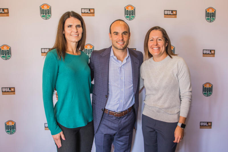 Carrie Taylor (left) is joining Landon Donovan's staff with the USL side San Diego Loyal, while former USWNT star Shannon MacMillan (right) and other women have various roles in the franchise. (David Norris/San Diego Loyal)