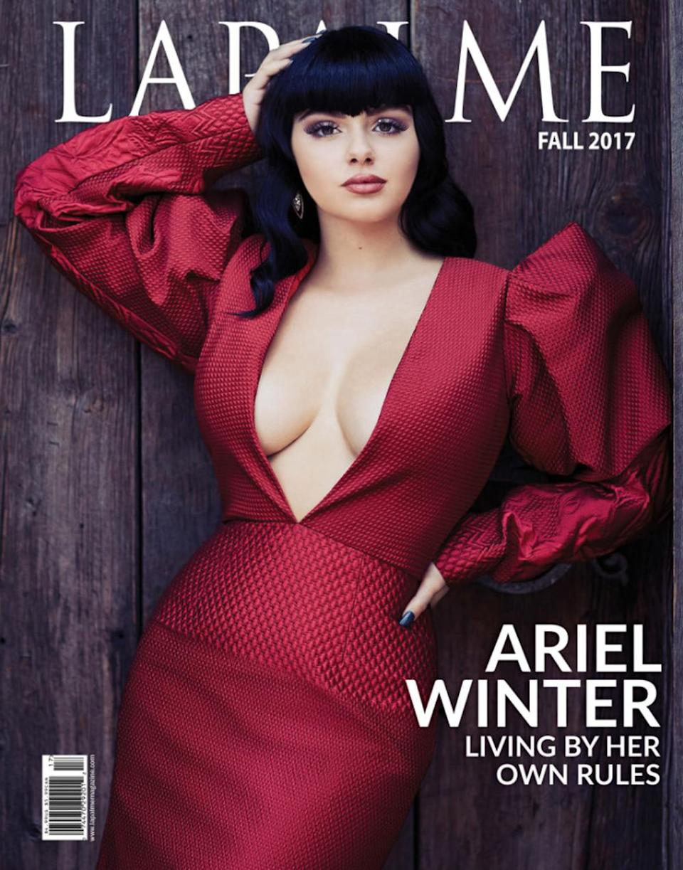 The 19-year-old actress wears a low-cut dress for the cover. (Photo: Mike Rosenthal for <em>LaPalme</em> magazine)