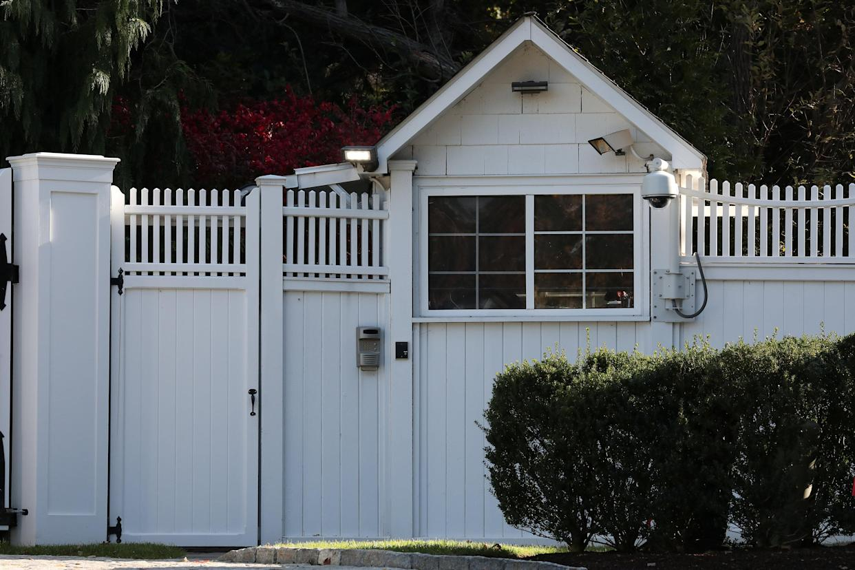 The gatehouse of Bill and Hillary Clinton's house is in Chappaqua, New York, on Wednesday. REUTERS/Carlo Allegri