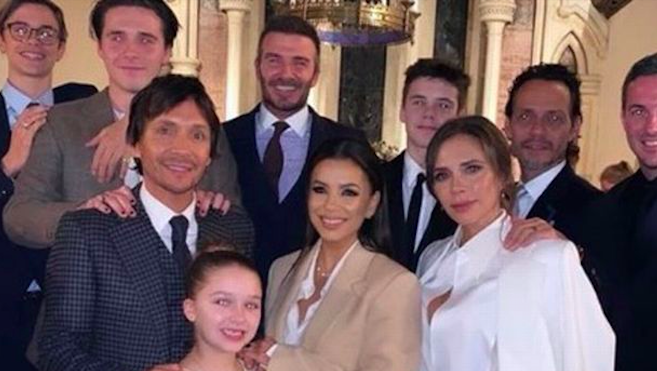 The Beckhams with their children and guests (Instagram)
