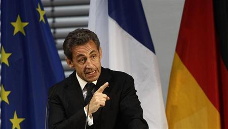 Former French President Sarkozy gestures during his speech at an event hosted by the Konrad-Adenauer foundation in Berlin