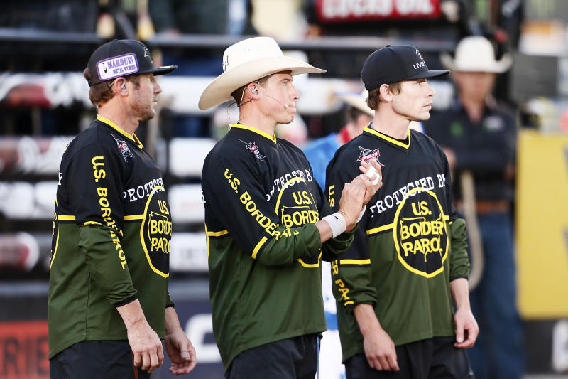 PBR bullfighter Shorty Gorham, left, promotes the U.S. Border Patrol on his social pages. (Chris Elise/Icon Sportswire via Getty Images)