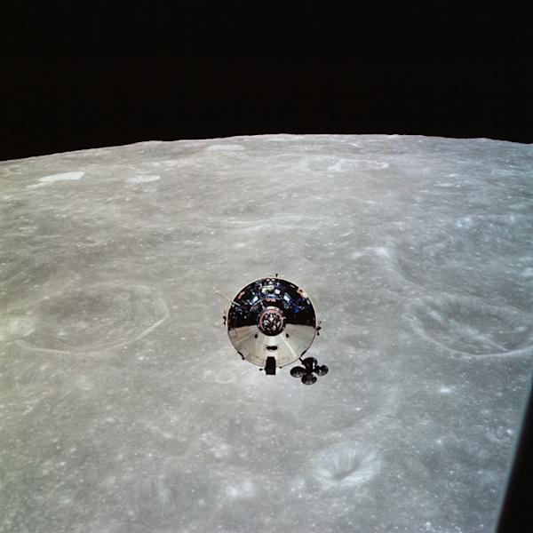 In this May 22, 1969, image obtained from NASA, the Apollo 10 command module is seen from the lunar module (LM) after separation in lunar orbit