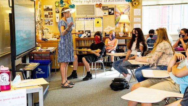 PHOTO: Rachel La Fein goes over new COVID19 safety protocols with students in her class at Trinity High School in Weaverville, Calif, Aug. 18, 2020. (Kent Nishimura/Los Angeles Times via Getty Images, FILE)