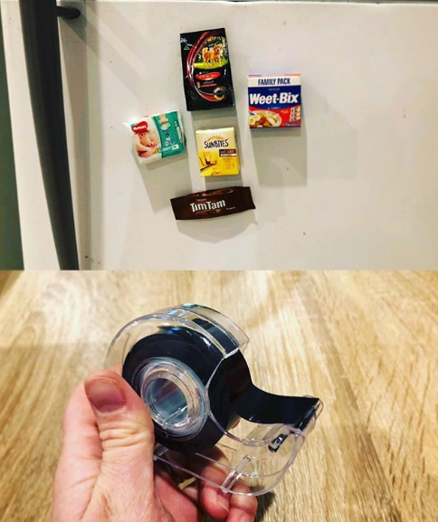 The thrifty idea involves using Kmart's magnetic tape to turn leftover minis into cute fridge magnets. Source: Instagram/NewMummyLife