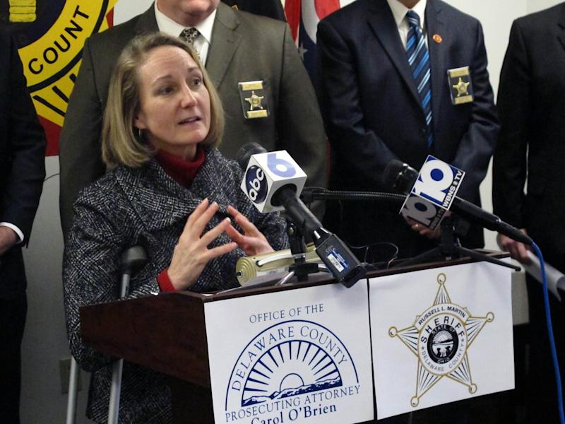Delaware County Prosecutor Carol O'Brien discusses the investigation into Dr. Ali Salim, charged in the 2012 killing of a pregnant woman and her unborn child, on Wednesday, Feb. 20, 2013, at the Delaware County Sheriff's Office in Delaware, Ohio. A grand jury indicted Salim Wednesday on murder, rape and other charges in the death of Deanna Ballman and her unborn child. (AP Photo/Andrew Welsh-Huggins)