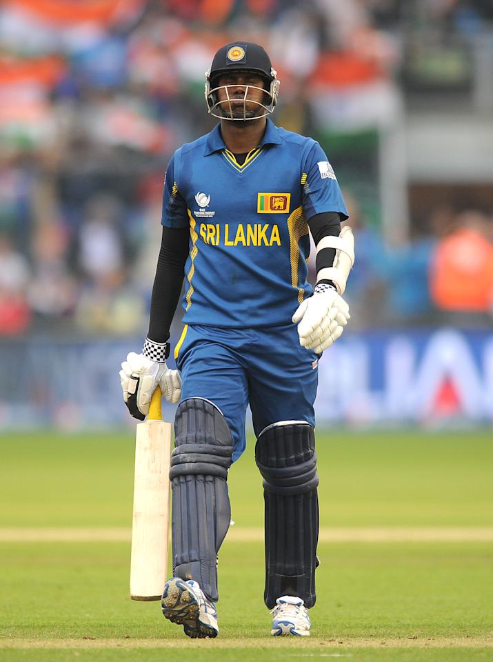 Sri Lanka's Angelo Mathews looks dejected as he leaves the field of play after losing his wicket during the ICC Champions Trophy, Semi Final at the SWALEC Stadium, Cardiff.
