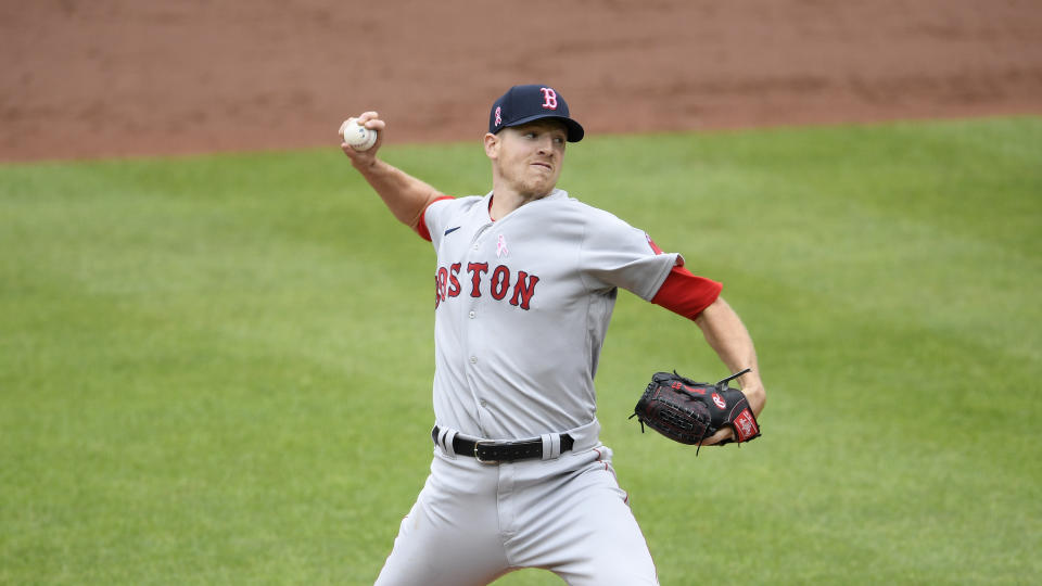 Boston Red Sox starting pitcher Nick Pivetta delivers a pitch during the third inning of a baseball game against the Baltimore Orioles, Sunday, May 9, 2021, in Baltimore. (AP Photo/Nick Wass)