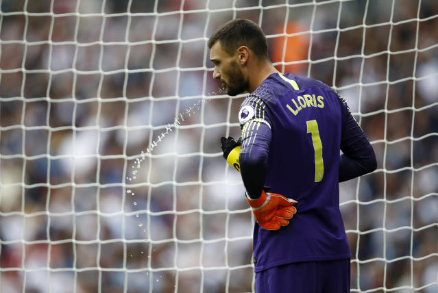 Hugo Lloris during the Premier League match between Tottenham Hotspur and Fulham FC at Wembley Stadium on August 18, 2018 in London, United Kingdom.