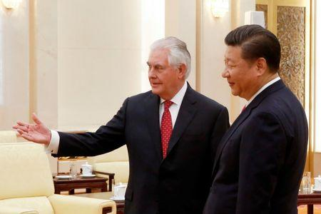 China's President Xi Jinping meets U.S. State of Secretary, Rex Tillerson at the Great Hall of the People in Beijing