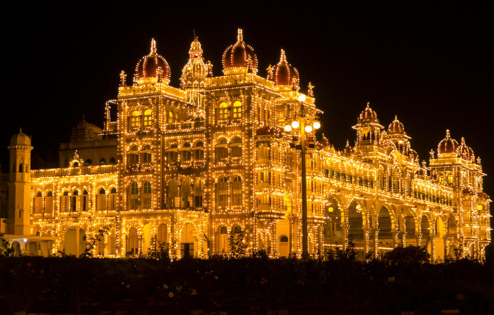 The Mysore Palace Illuminated at Night in Mysore in Southern India a Royal Residence and the Second Most Visited Site in India after The Taj Mahal.