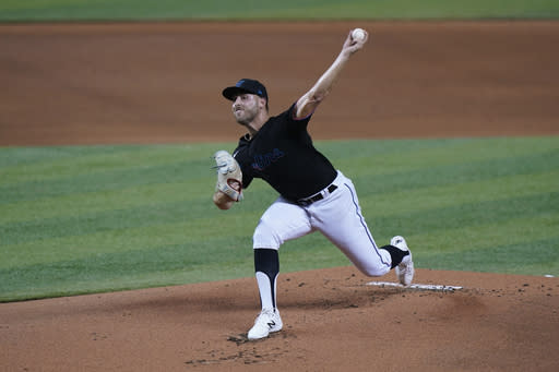 Miami Marlins' Daniel Castano pitches during the first inning of the second game of a baseball doubleheader against the Washington Nationals, Friday, Sept. 18, 2020, in Miami. (AP Photo/Wilfredo Lee)