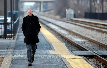 U.S. Congressman Daniel Lipinski arrives at the Chicago Ridge Metra commuter train station before campaigning for re-election in Chicago Ridge, Illinois, U.S. January 25, 2018. Picture taken January 25, 2018. REUTERS/Kamil Krzacznski