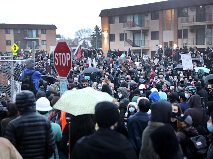 Demonstrators face off with police outside of the Brooklyn Center police station on April 12, 2021 in Brooklyn Center, Minnesota.  (Getty Images)