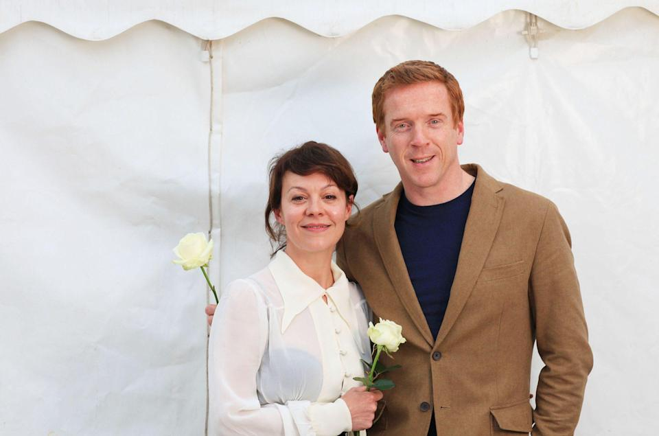 Helen McCrory with her husband Damian Lewis backstage after a reading of Romantic poetry at the 2013 Telegraph Hay Festival - Clara Molden