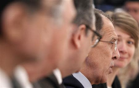 Russia's Foreign Minister Sergei Lavrov speaks during a meeting with his New Zealand counterpart Murray McCully in Moscow