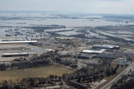 Offutt Air Force Base and the surrounding areas affected by flood waters are seen in this aerial photo taken in Nebraska, U.S., March 16, 2019. Picture taken March 16, 2019.  Courtesy Rachelle Blake/U.S. Air Force/Handout via REUTERS