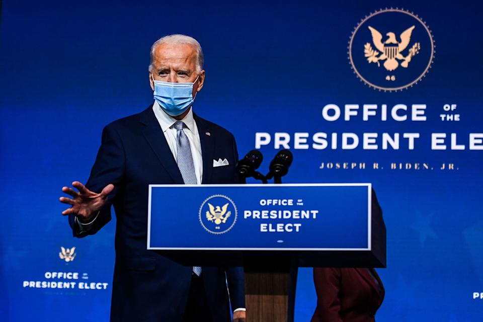 Joe Biden, durante su intervención de ayer en su pueblo, Wilmington, Delaware. (Photo: CHANDAN KHANNA via Getty Images)