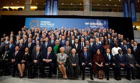 "Finance ministers and bank governors pose for a ""family"" photo for the International Monetary and Financial Committee (IMFC), as part of the IMF and World Bank's 2017 Annual Spring Meetings, in Washington, U.S., April 22, 2017.   REUTERS/Mike Theiler"