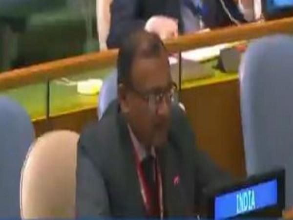 TS Tirumurti, India's Permanent Representative to the UN, speaking at the 75th session of UN General Assembly on Monday (local time).