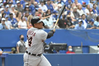 Detroit Tigers' Miguel Cabrera watches his 500th career home run in the sixth inning against the Toronto Blue Jays during a baseball game in Toronto, Sunday, Aug. 22, 2021. (Jon Blacker/The Canadian Press via AP)