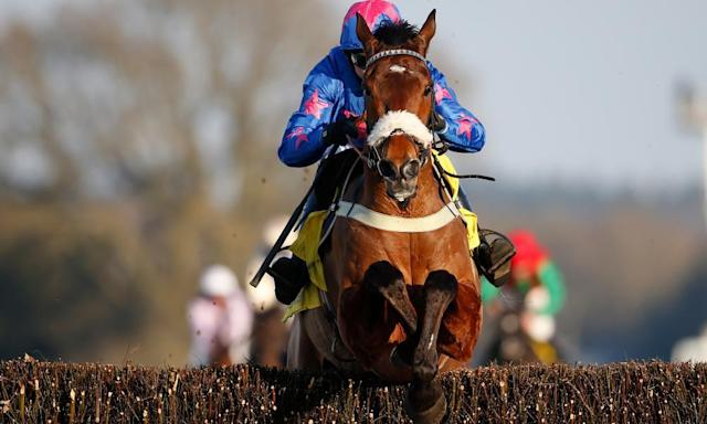 "<span class=""element-image__caption"">Paddy Brennan and Cue Card clear the final hurdle to win last month's Ascot Chase with some comfort.</span> <span class=""element-image__credit"">Photograph: Alan Crowhurst/Getty Images</span>"