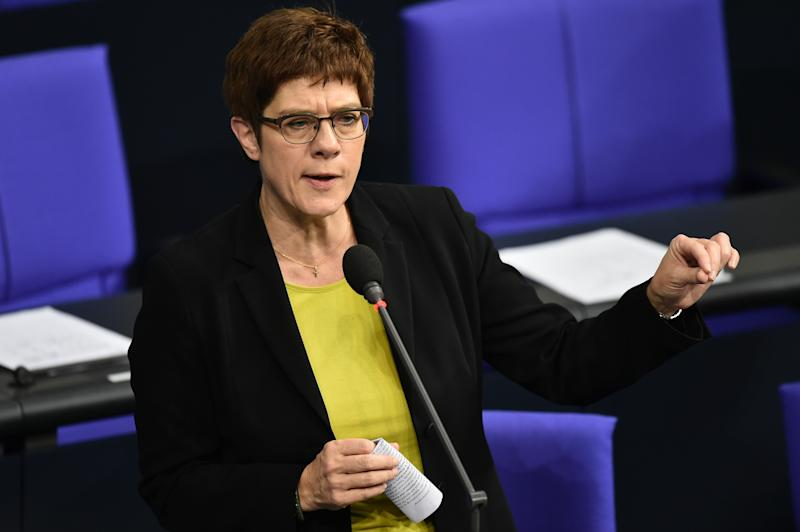 27 November 2019, Berlin: Annegret Kramp-Karrenbauer, the German defence minister. Photo: Sven Braun/dpa (Photo by Sven Braun/picture alliance via Getty Images)