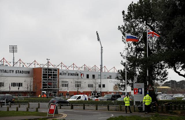 "Soccer Football - Premier League - AFC Bournemouth vs West Bromwich Albion - Vitality Stadium, Bournemouth, Britain - March 17, 2018 General view of the Russia and Great Britain flags outside the stadium before the match REUTERS/Peter Nicholls EDITORIAL USE ONLY. No use with unauthorized audio, video, data, fixture lists, club/league logos or ""live"" services. Online in-match use limited to 75 images, no video emulation. No use in betting, games or single club/league/player publications. Please contact your account representative for further details."