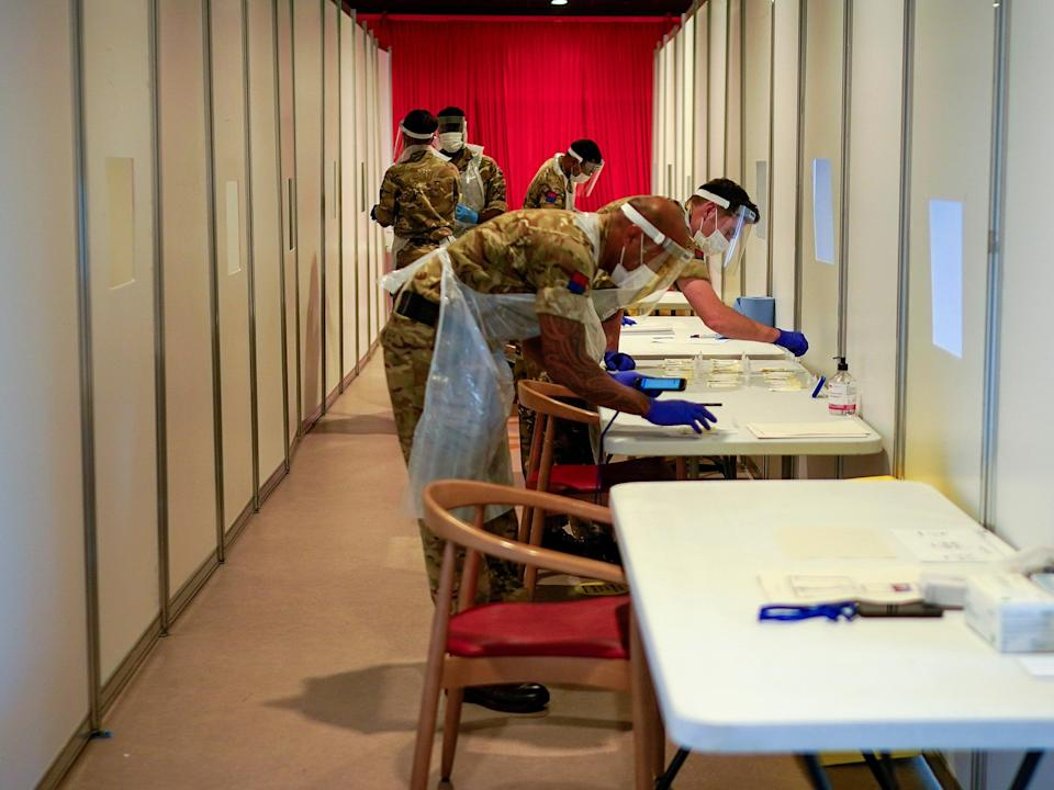 Soldiers at a coronavirus testing centre at Liverpool Football Club's Anfield stadium (Getty Images)