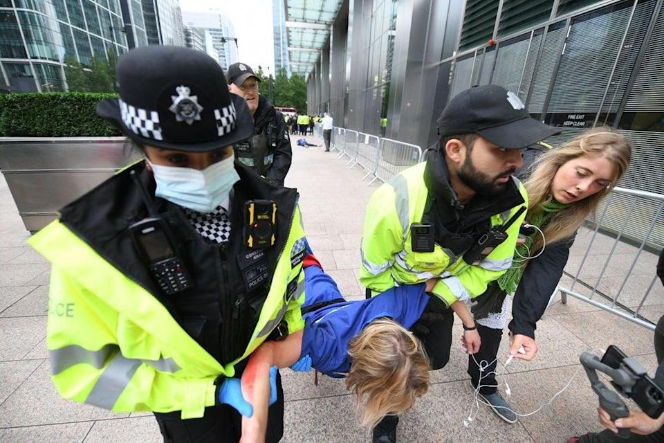 Arrests during a Doctors for XR protest in London on Friday (Gareth Morris)