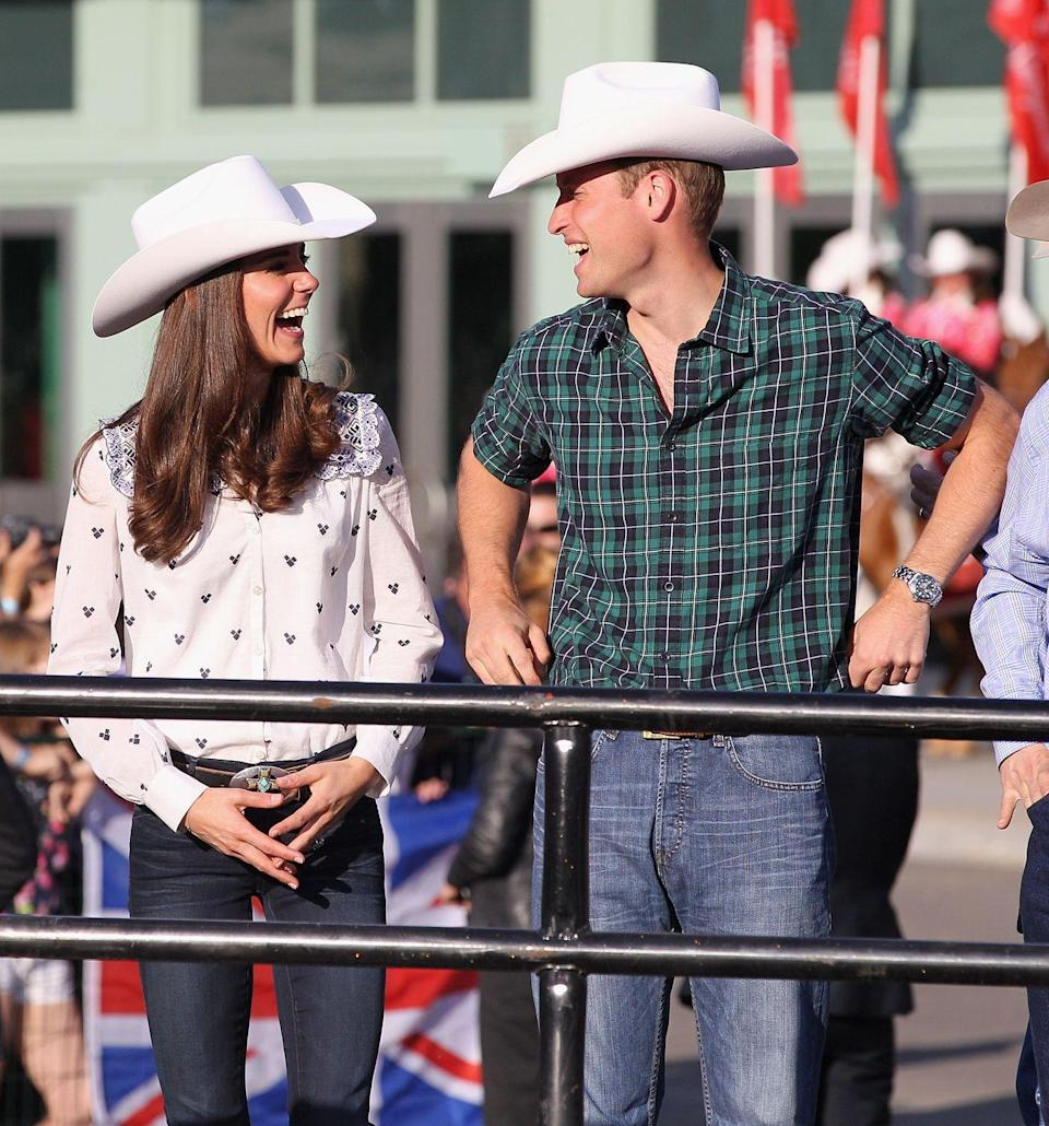 <p>The couple were given a proper Rodeo welcome during their 2011 Canada tour and could be seen sharing a joke whilst admiring each other's cowboy hats. </p>
