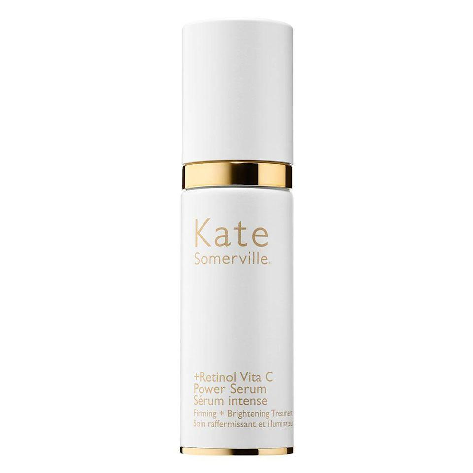 """<p><strong>Kate Somerville</strong></p><p>sephora.com</p><p><strong>$98.00</strong></p><p><a href=""""https://go.redirectingat.com?id=74968X1596630&url=https%3A%2F%2Fwww.sephora.com%2Fproduct%2Fretinol-vita-c-power-serum-P436365&sref=https%3A%2F%2Fwww.bestproducts.com%2Fbeauty%2Fg20966726%2Fvitamin-c-face-serum-reviews%2F"""" rel=""""nofollow noopener"""" target=""""_blank"""" data-ylk=""""slk:Shop Now"""" class=""""link rapid-noclick-resp"""">Shop Now</a></p><p>If you want to take your anti-aging routine to the next level, then a combination of vitamin C and retinol will do just the trick. </p><p>This powerful vitamin C serum from Kate Somerville is a perfect addition to your nighttime routine to give your skin a brighter, tighter, and more youthful appearance.</p>"""