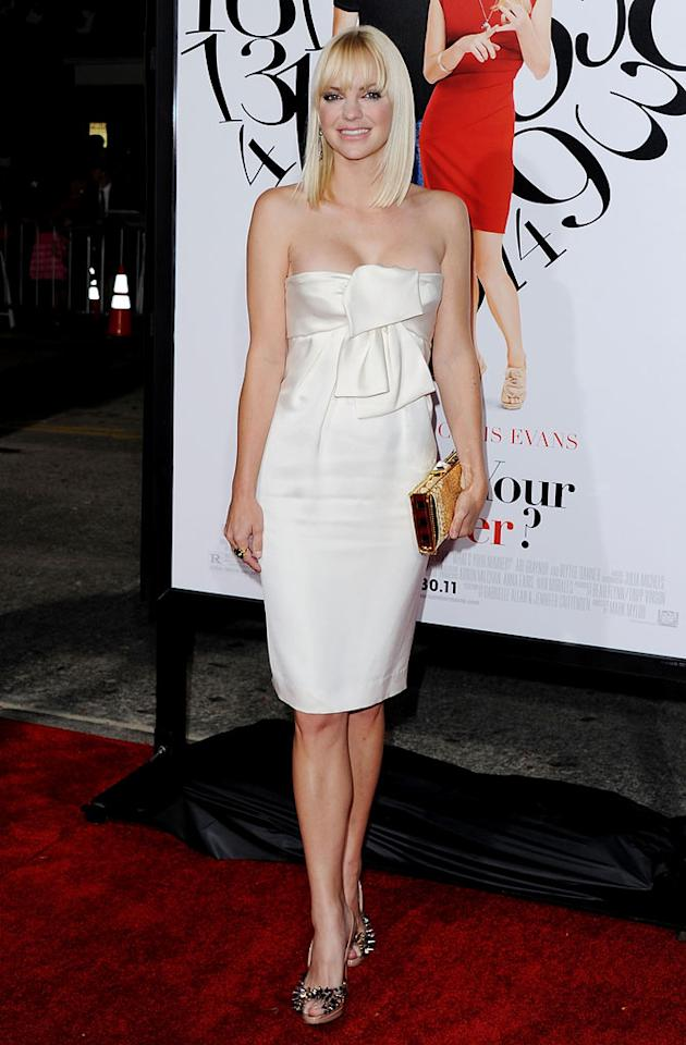 """Funny lady Anna Faris was the epitome of elegance upon arriving at the Los Angeles premiere of """"What's Your Number?"""" thanks to the white satin Prada bandeau dress and spike-adorned peep-toes she decided to don. Jon Kopaloff/<a href=""""http://www.filmmagic.com/"""" target=""""new"""">FilmMagic.com</a> - September 19, 2011"""