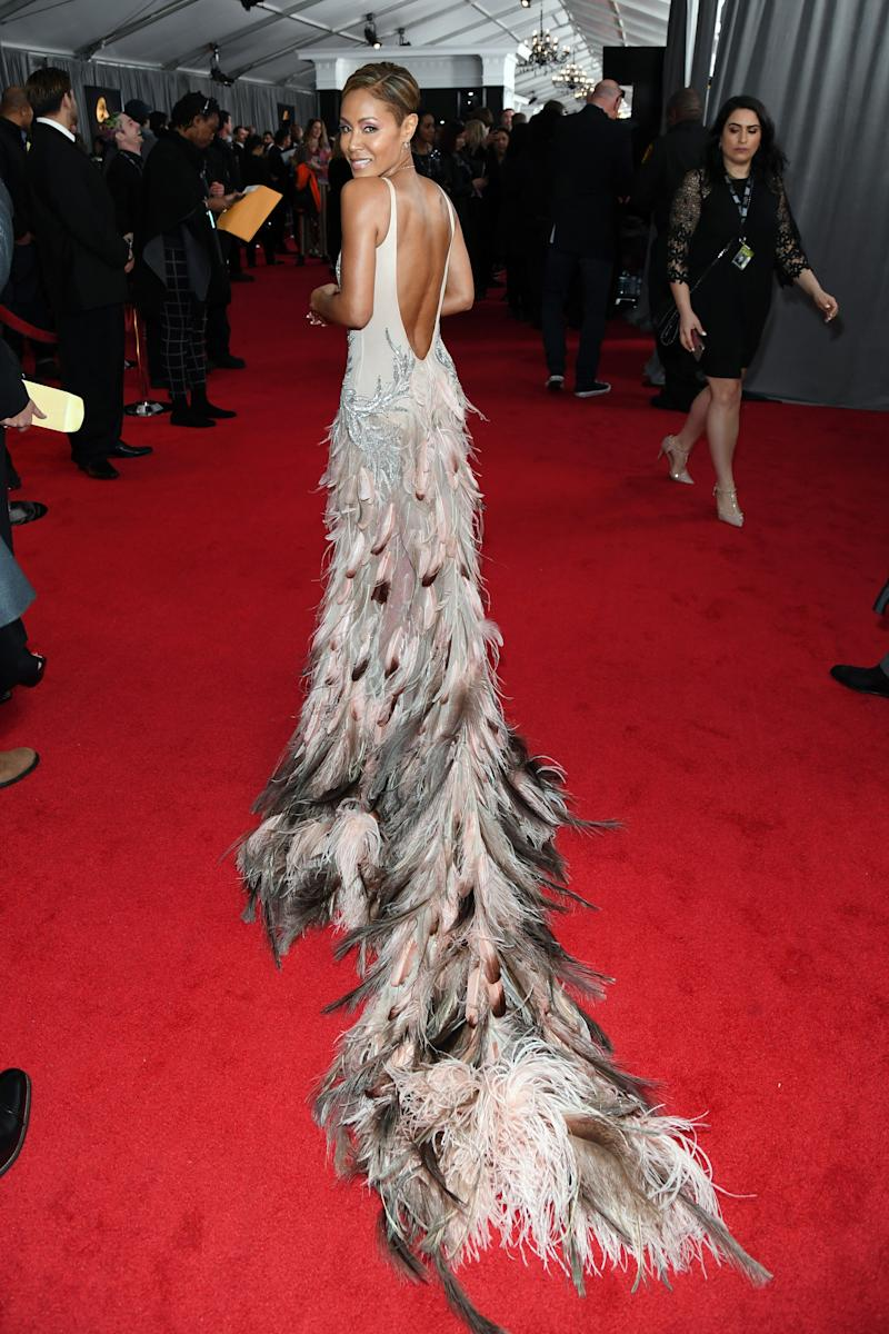 Jada Pinkett Smith is bringing the drama with this feathered train.
