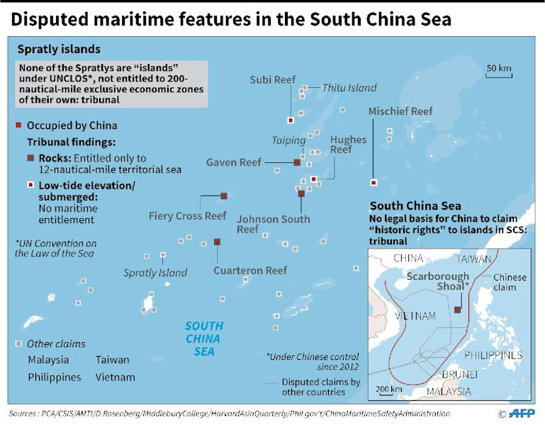 Disputed maritime features in the South China Sea (AFP Photo/)