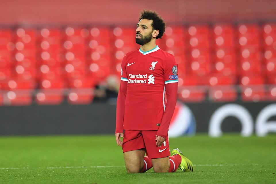 Liverpool's Egyptian midfielder Mohamed Salah reacts during the UEFA Champions League quarter final second leg football match between Liverpool and Real Madrid at Anfield in Liverpool, England on 14 April. Liverpool were due to be one of the founding clubs of the aborted European Super League. Photo: Paul Ellis/AFP via Getty Images