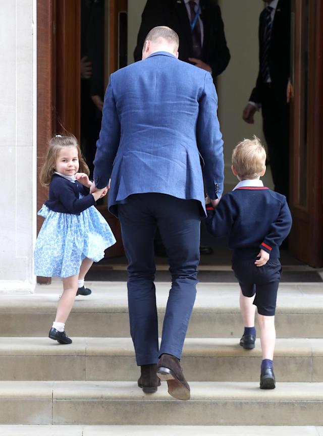 Prince William brings Princess Charlotte and Prince George to the Lindo Wing at St. Mary's Hospital in London to meet their new baby brother. (Photo: Getty Images)