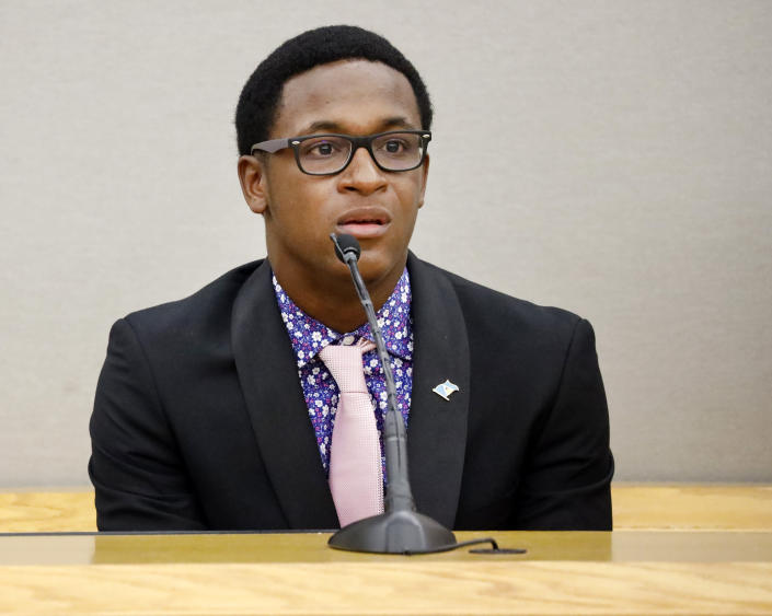 Botham Jean's son Brandt Jean delivers his impact statement to former Dallas Police Officer Amber Guyger following her sentencing for murder, Wednesday, Oct. 2, 2019, in Dallas. Guyger, who said she mistook neighbor Botham Jean's apartment for her own and fatally shot him in his living room, was sentenced to a decade in prison. (Tom Fox/The Dallas Morning News via AP, Pool)