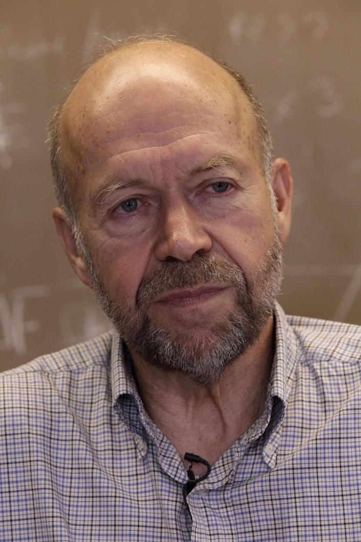 In this Thursday, Aug. 2 2012 photo, Dr. James E. Hansen head of the NASA Goddard Institute for Space Studies is photographed during an interview with the Associated Press at his office in New York. (AP Photo/Mary Altaffer)